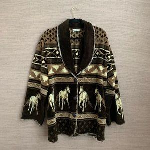 Vintage Southwestern Fleece Cardigan 🐴